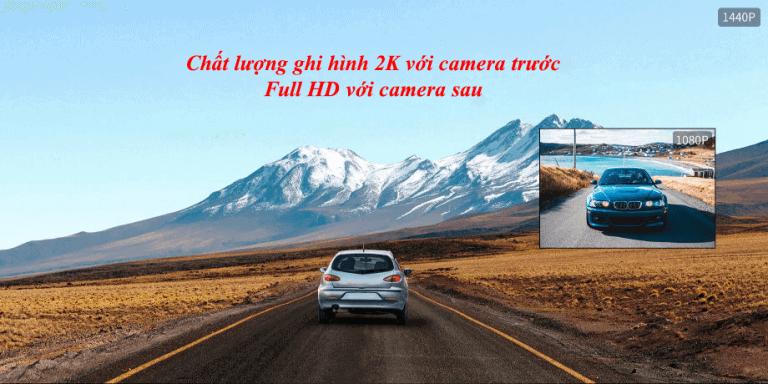 Camera hành trình Qihoo 360 G500H Quốc Tế 2 mắt ghi hình trước sau 1